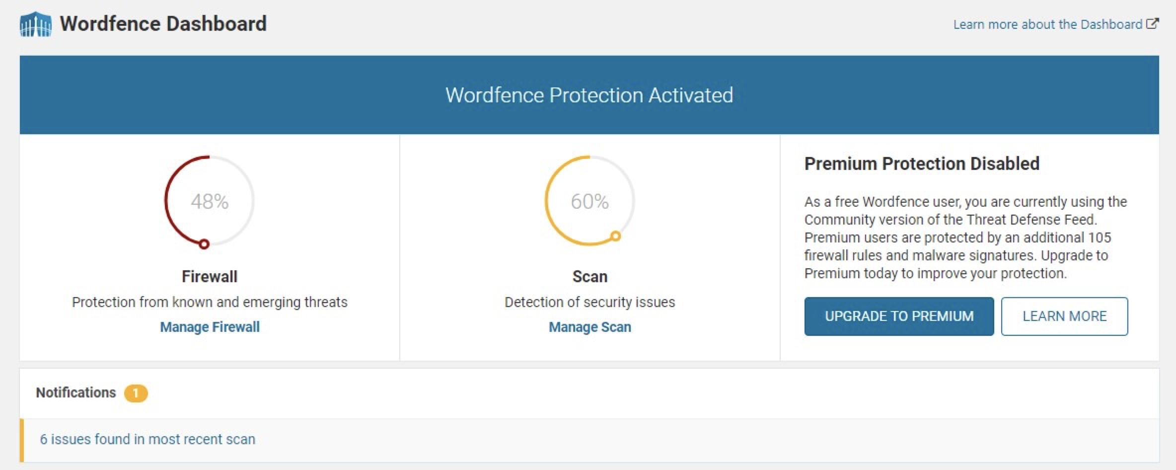 Wordfence dashboard