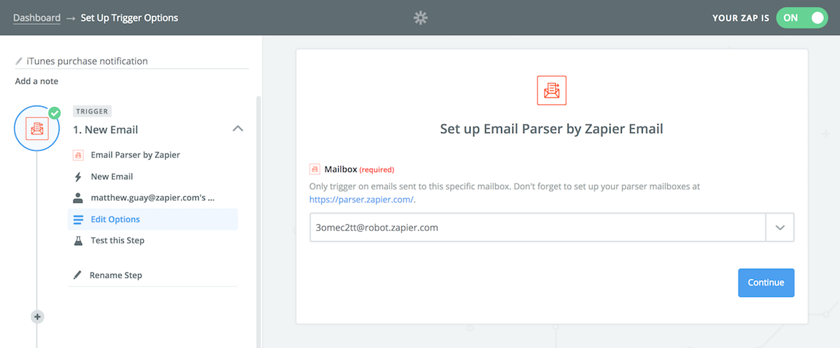 Use Zapier to automatically use your parsed email data