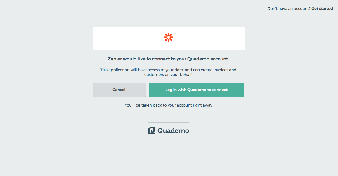 Login to Quaderno