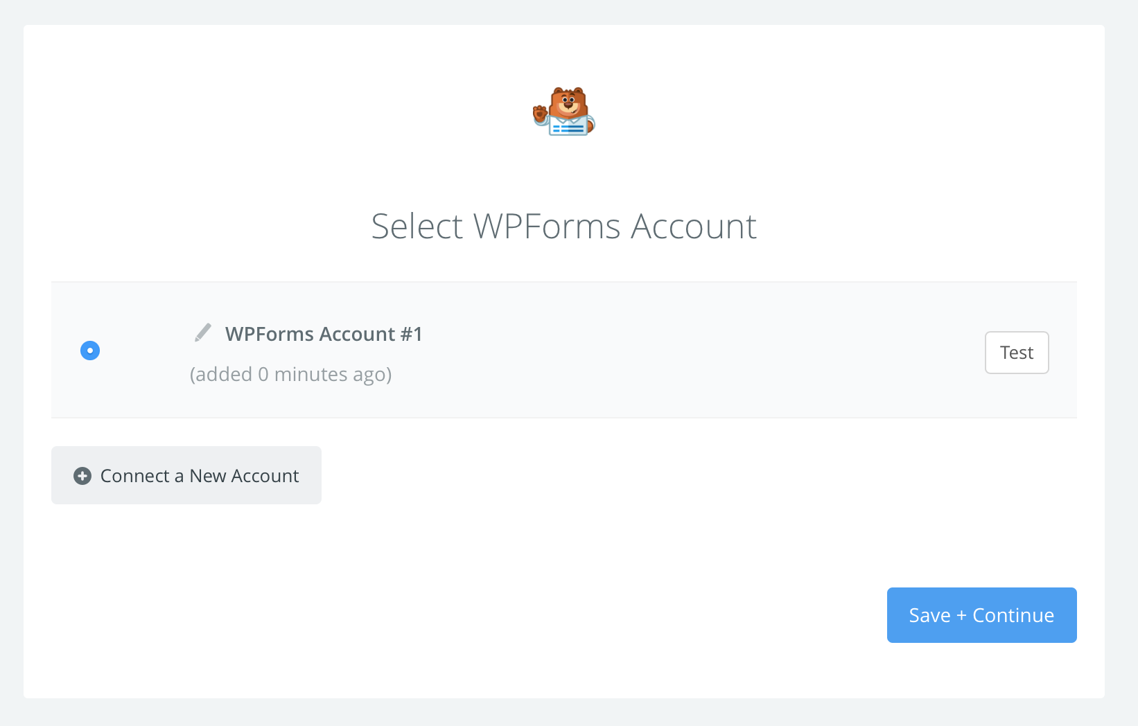 WPForms connection successfull