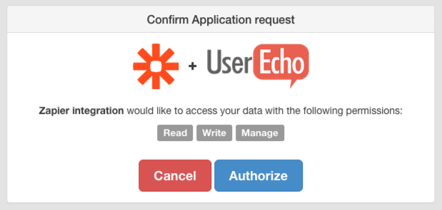 Authorize UserEcho on Zapier