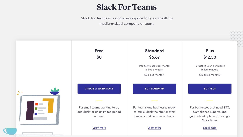 Slack pricing 2018