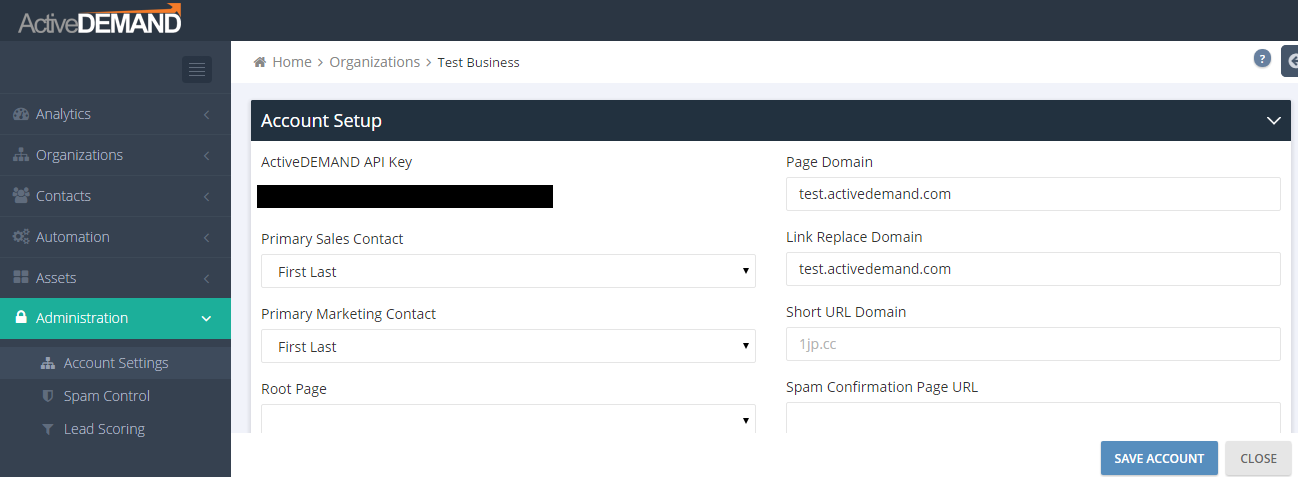 ActiveDEMAND API Key in Account Setup