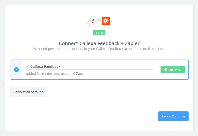 Callexa Feedback connection successful