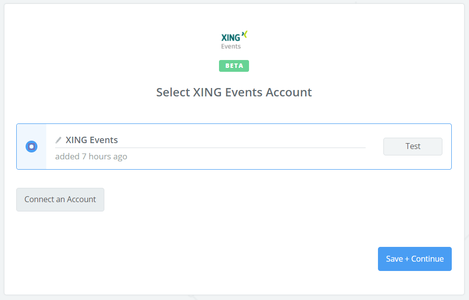 XING Events connection successful
