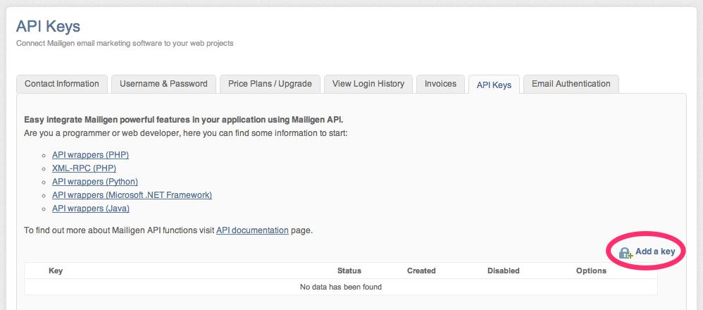 Generate your Mailigen API Key