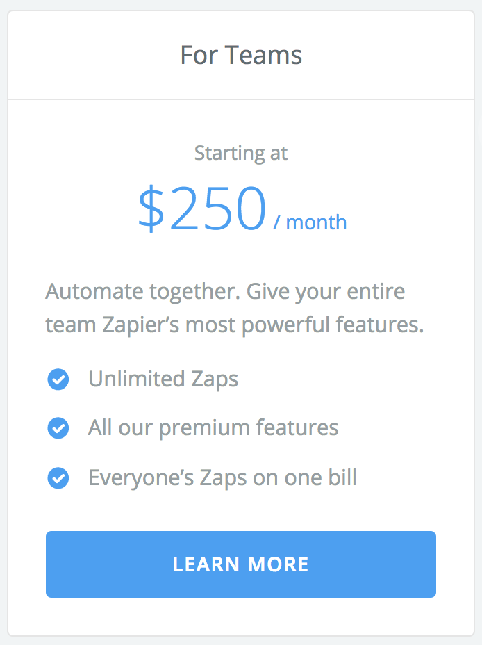 Zapier Team plan