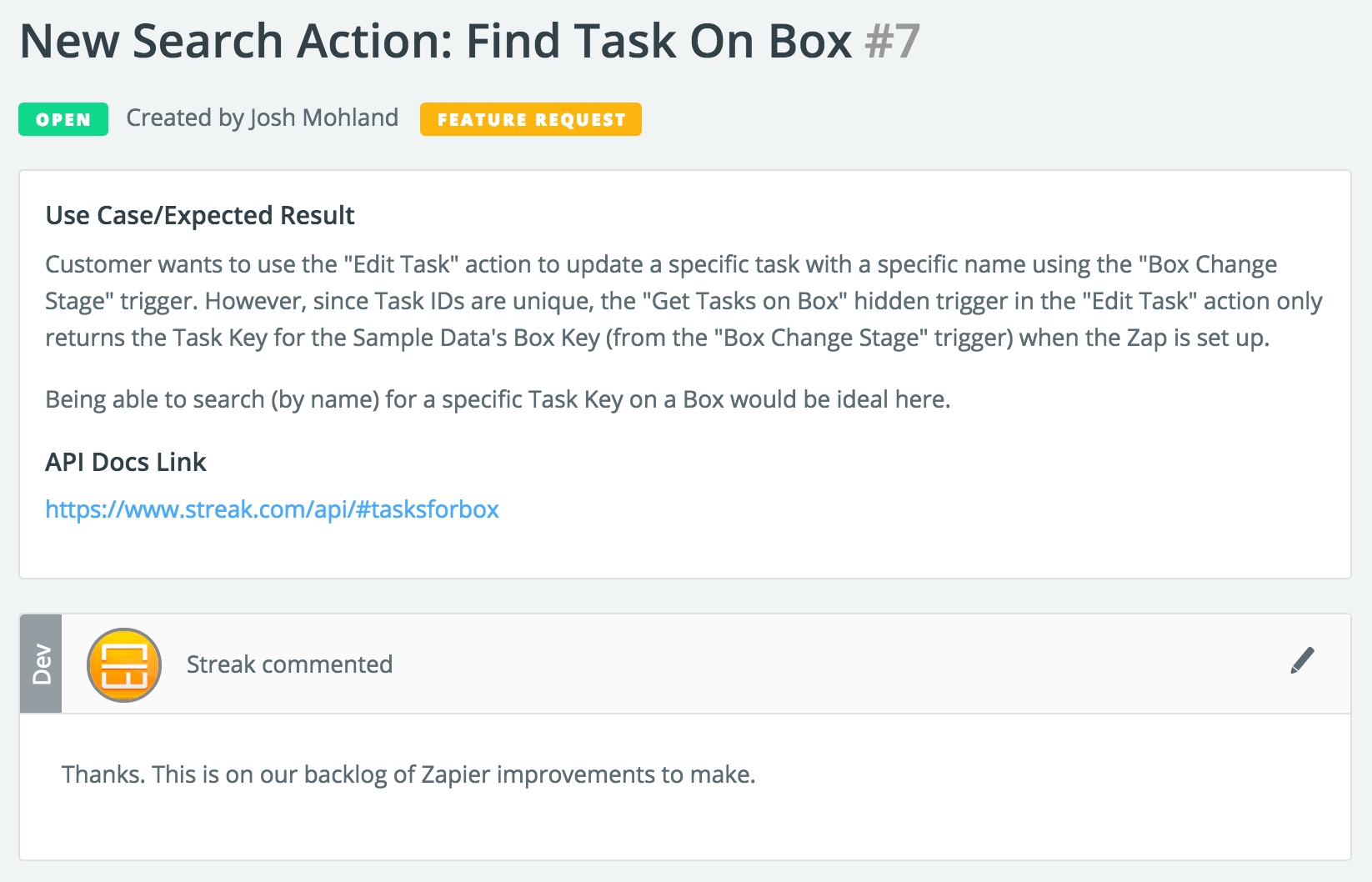 Zapier Issues: Feature Request