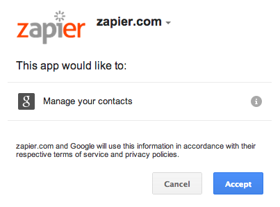Log in to authorize your Google Contacts account