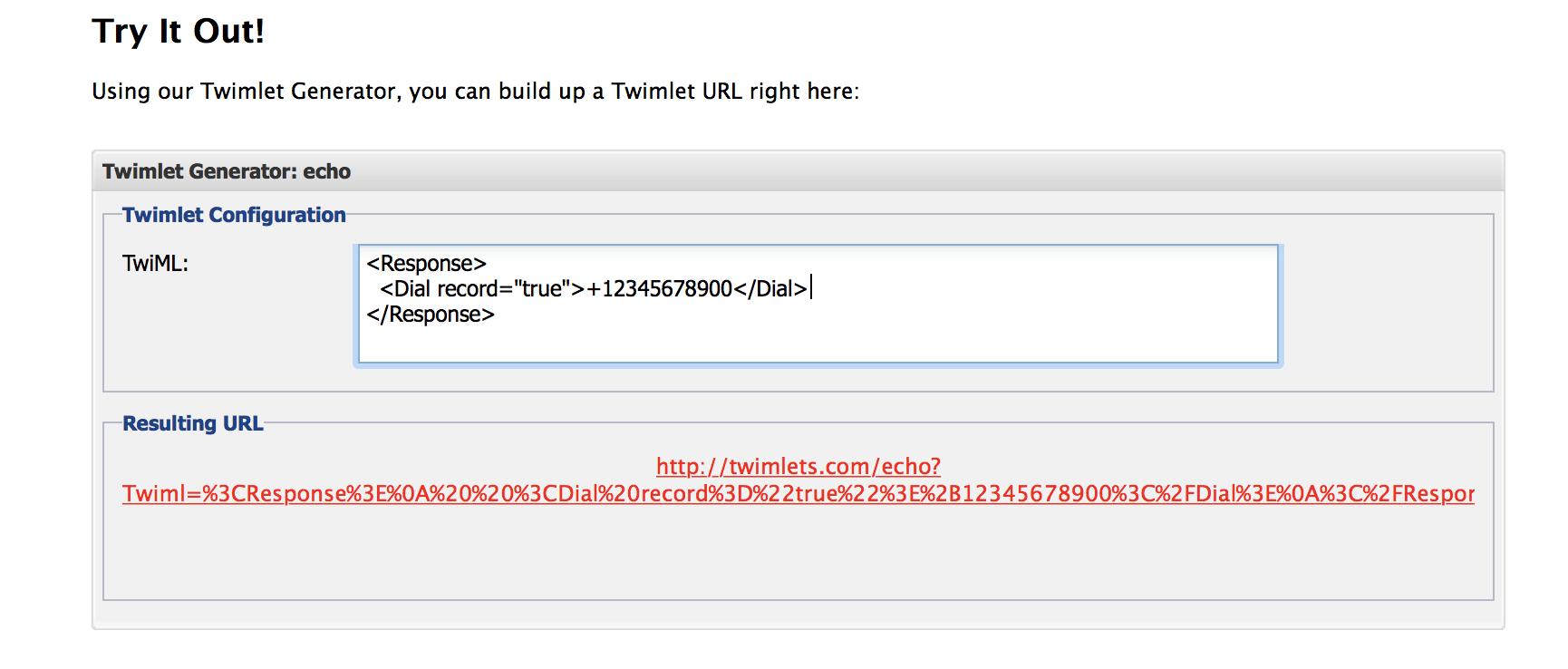 Make Twimlet URL
