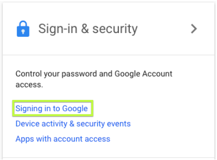 Signing into Google