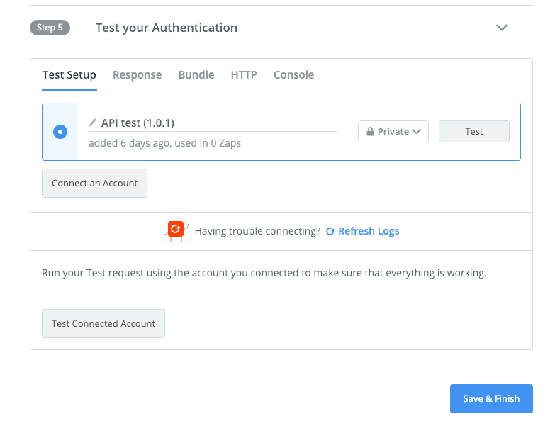 Add testing account in Zapier visual builder