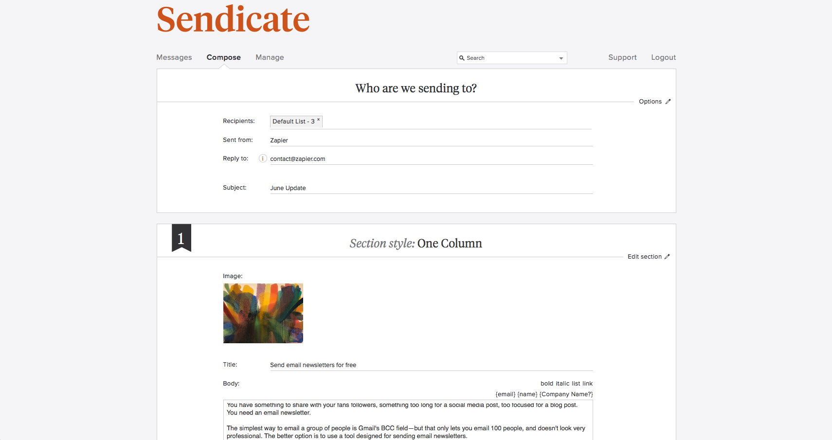 Sendicate screenshot