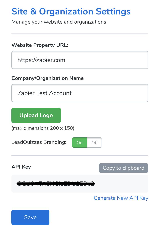 LeadQuizzes 3 API Key in account