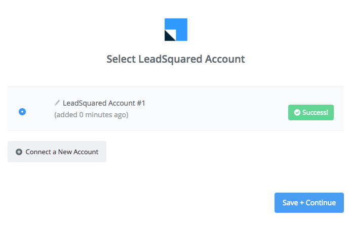 LeadSquared connection successfull
