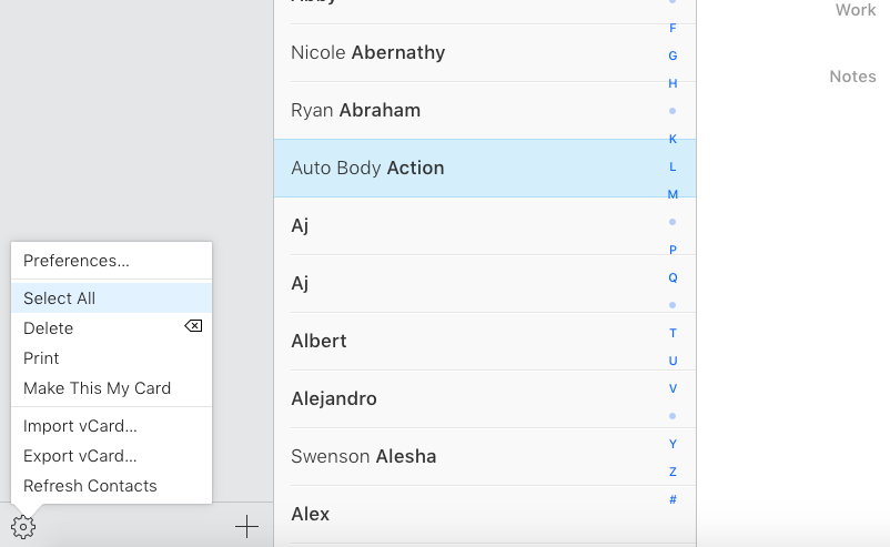 Select all your iCloud contacts.