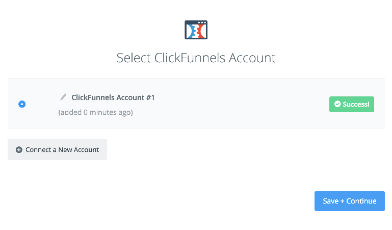 ClickFunnels connection successfull