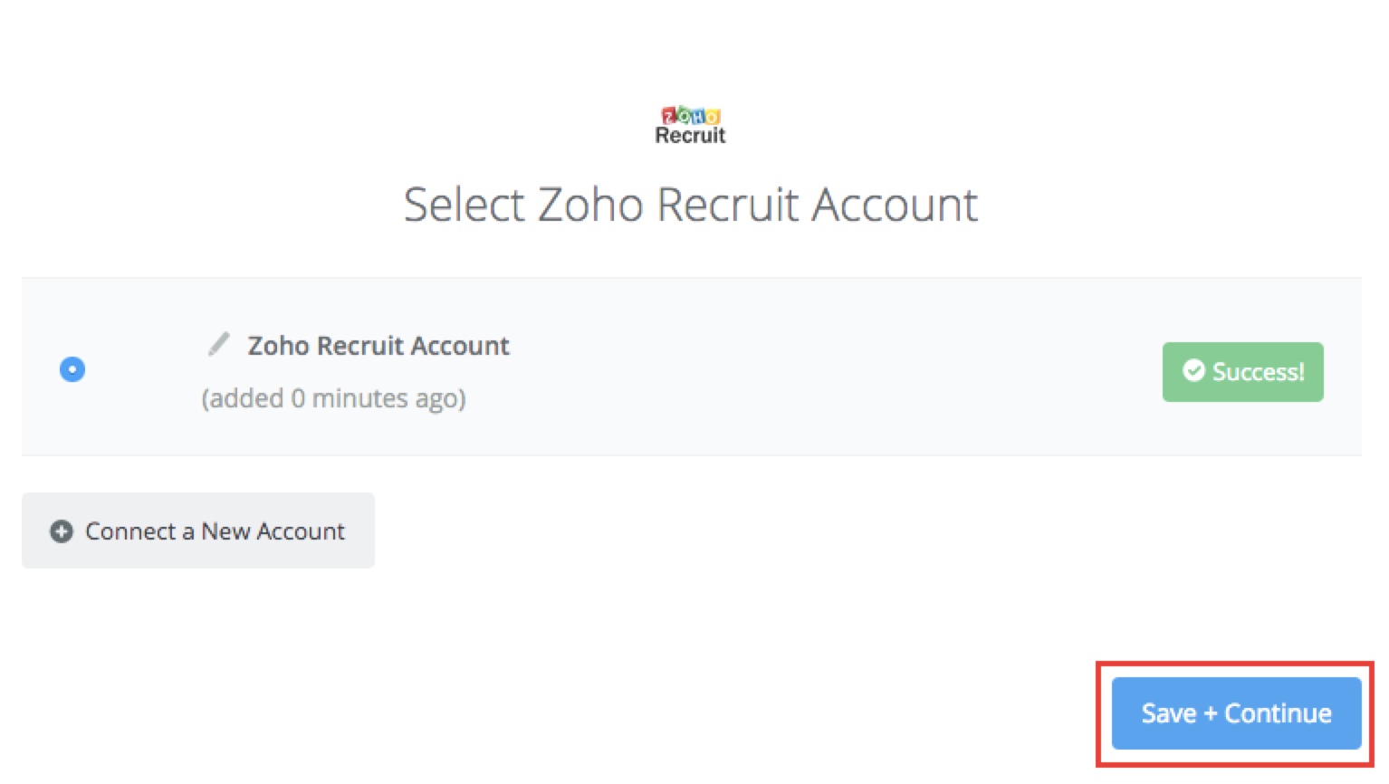Zoho Recruit connection successfull