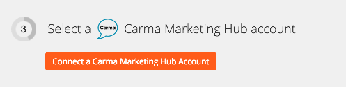 Click to connect to your Carma Marketing Hub account