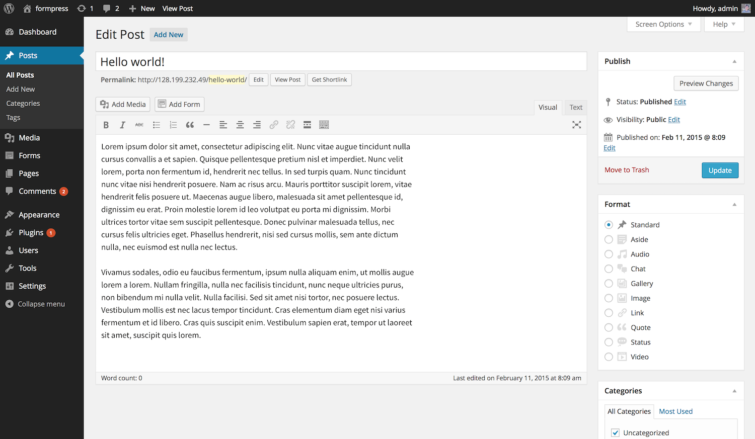 WordPress screenshot