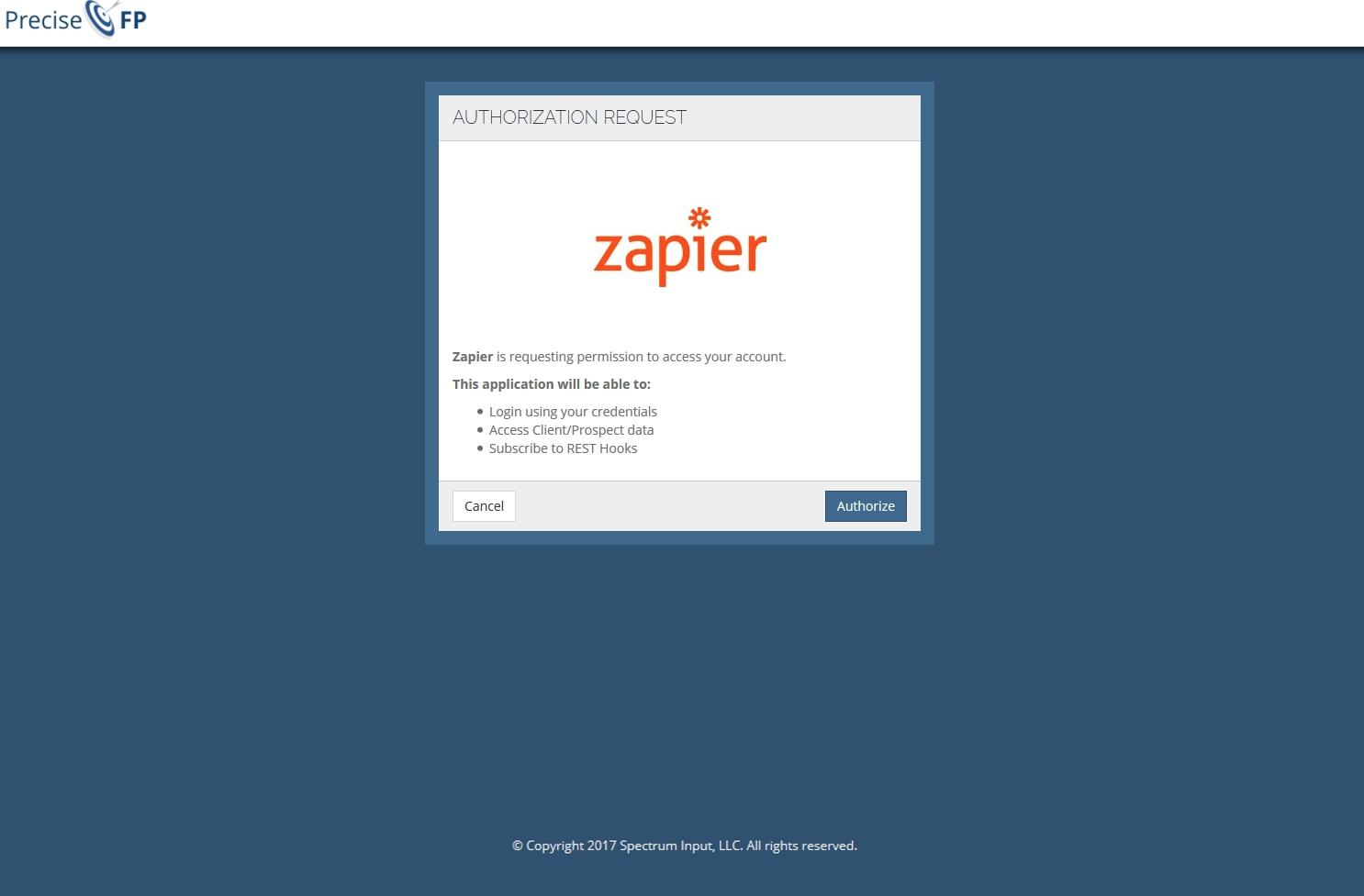 Authorize  PreciseFP on Zapier