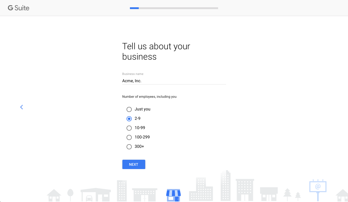 Create a new G Suite account