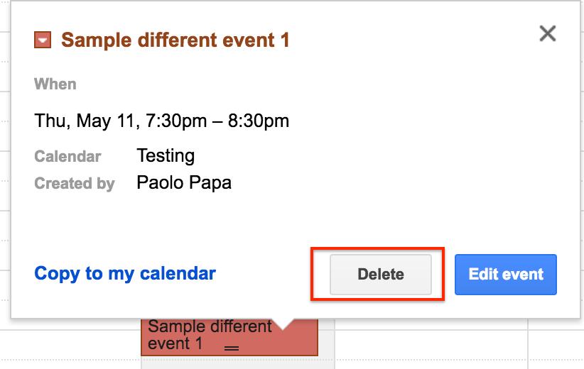 Delete Google Calendar event