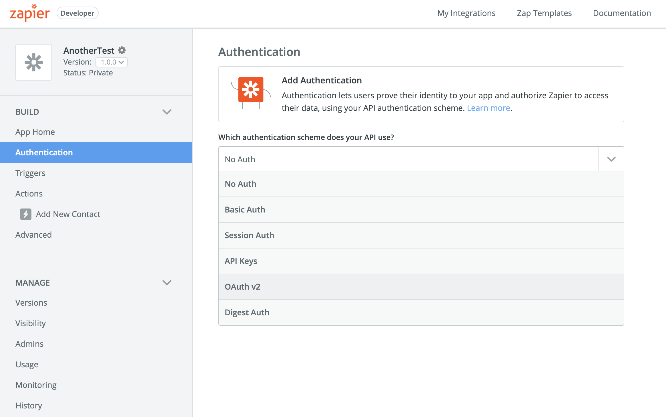 Add OAuth to Zapier Integration