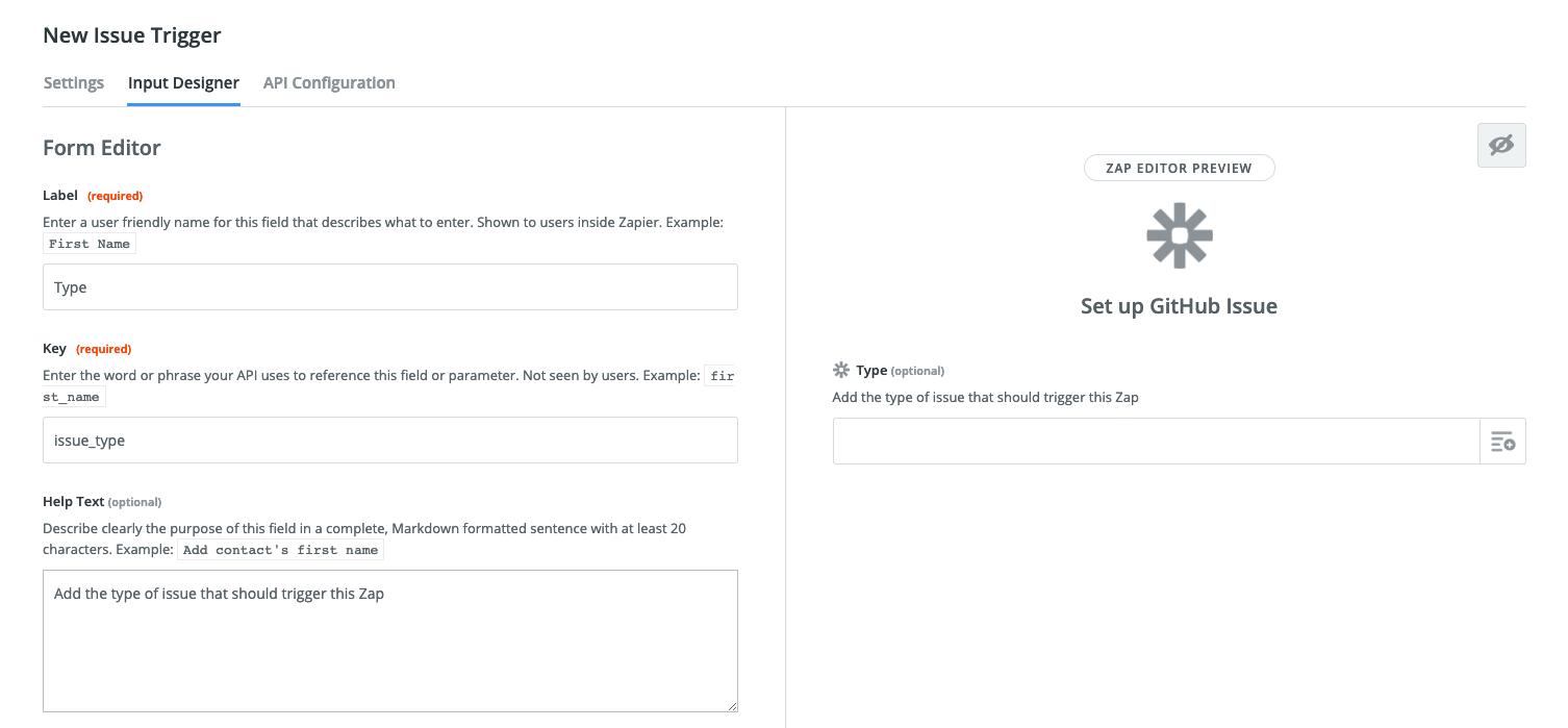 Zapier Visual Builder input field details