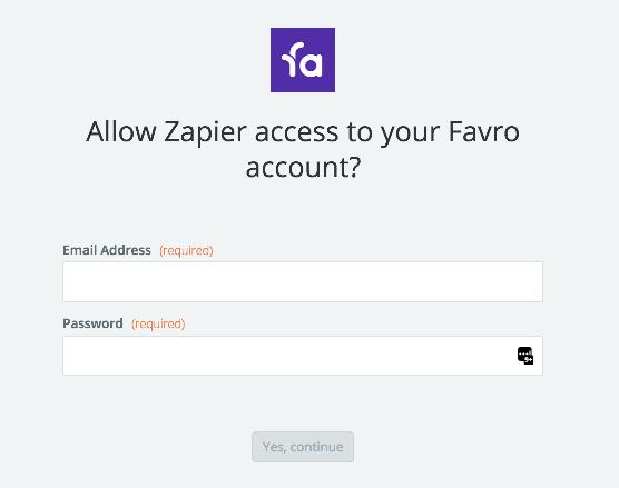 Favro username and password