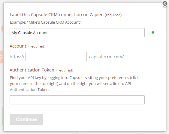 Provide Zapier your Capsule account details
