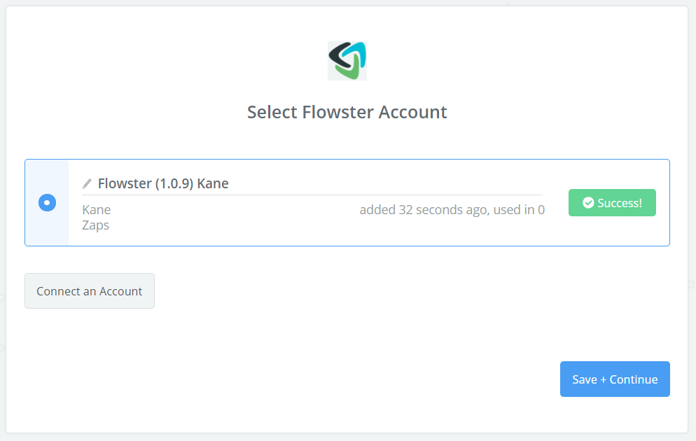 Flowster connection successful