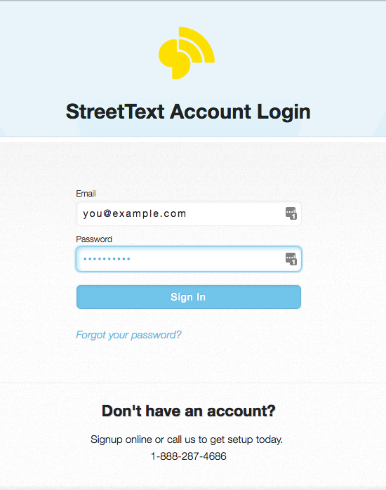 Login to StreetText