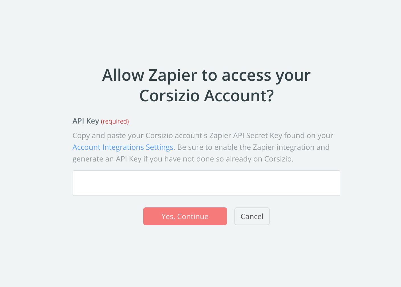 Corsizio API Key