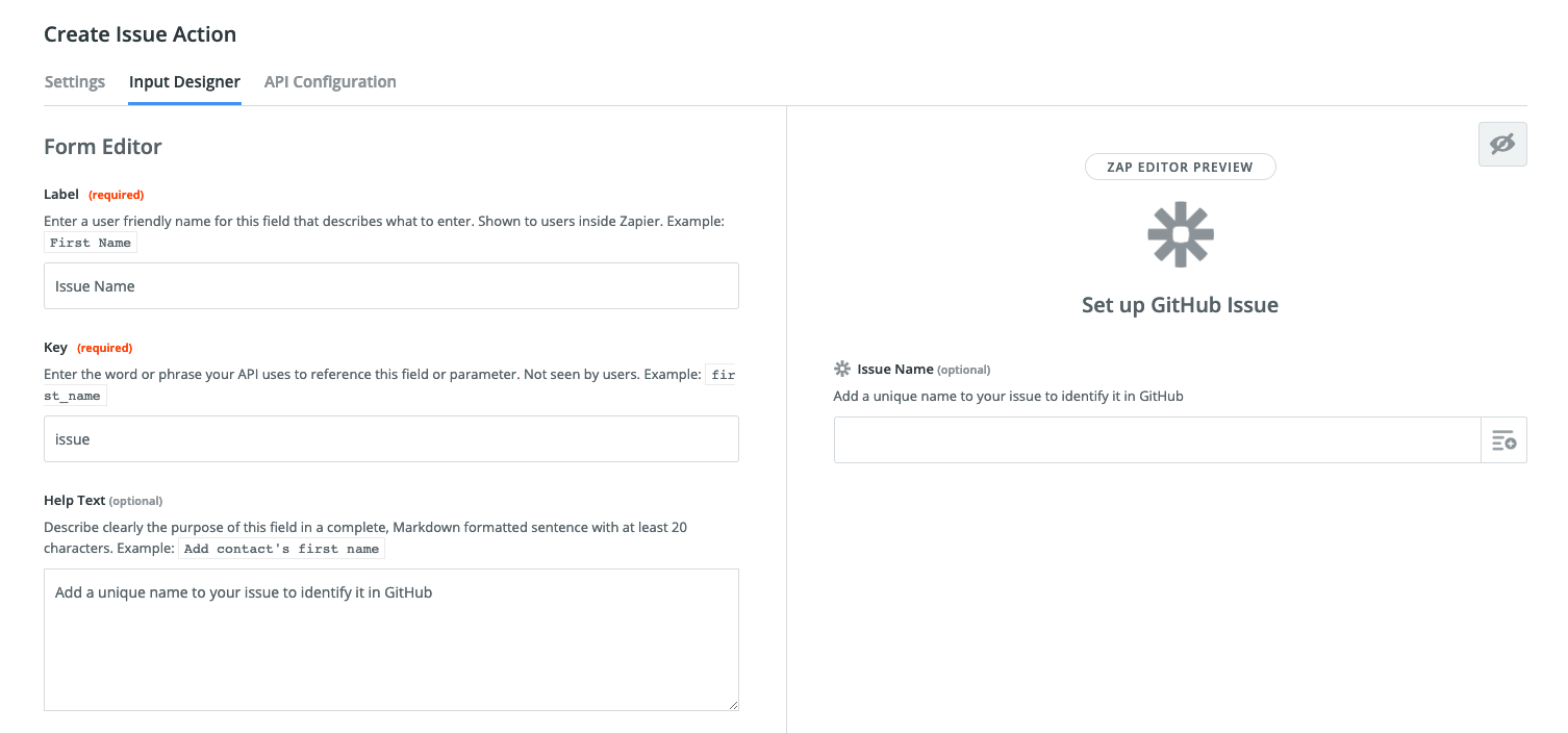 Zapier Visual Builder action input fields
