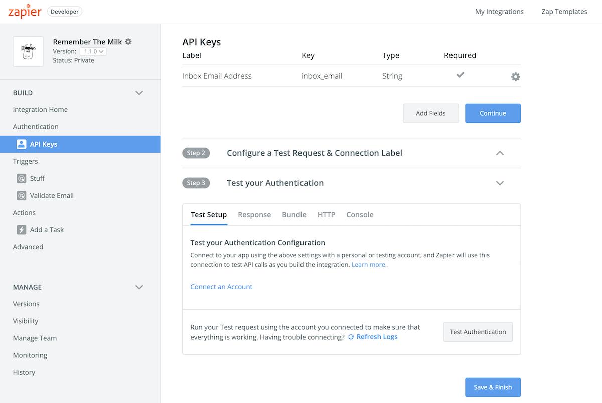 Testing in Zapier Platform UI