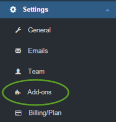 QuickMail.io Got to Settings / Add-ons