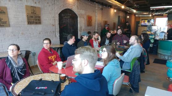 attendees at the Django Girls Grand Rapids event
