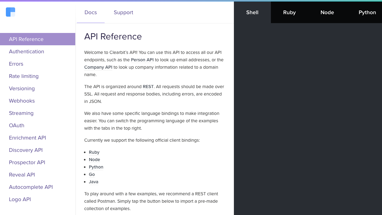 Clearbit API reference built on Slate
