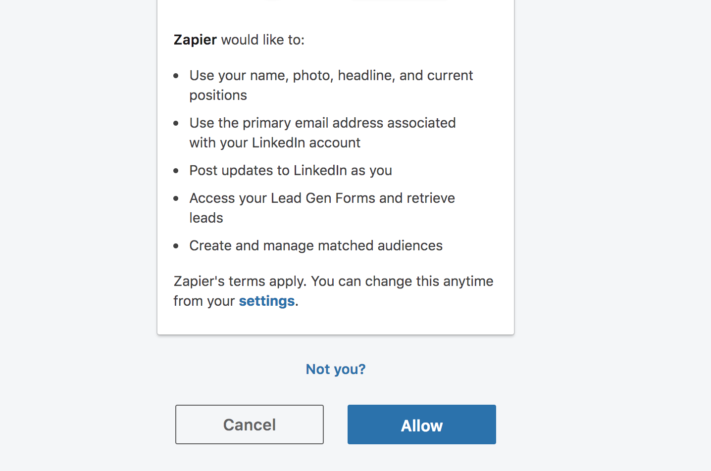 Login to LinkedIn Matched Audiences