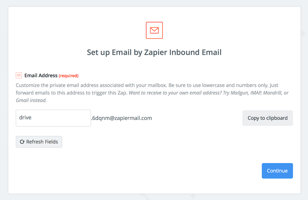 Zapier Email Address for Google Drive