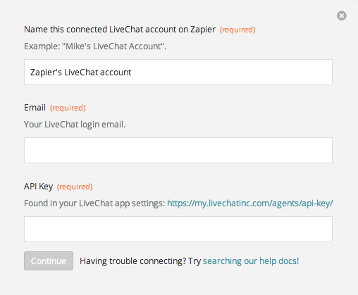 LiveChat credentials for Zapier