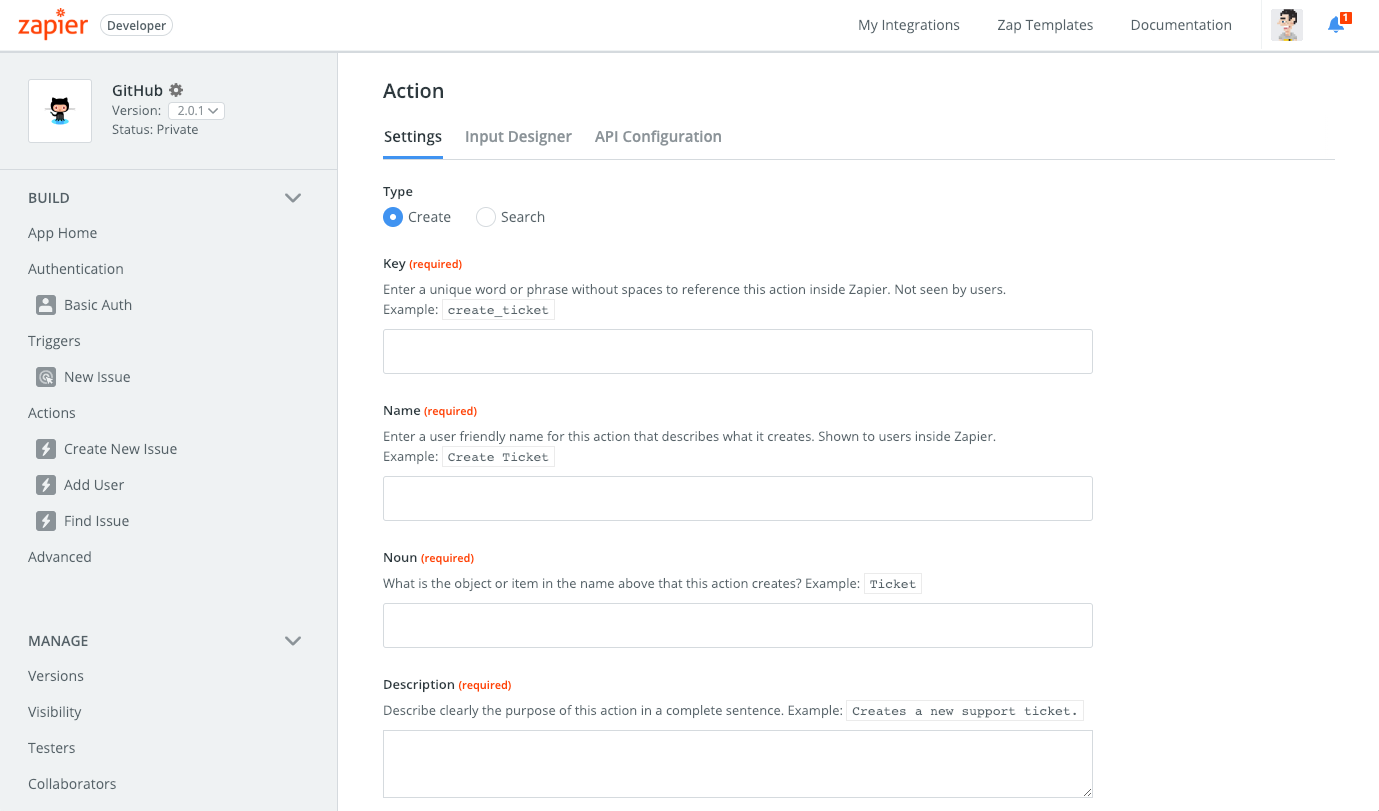 Zapier visual builder action settings