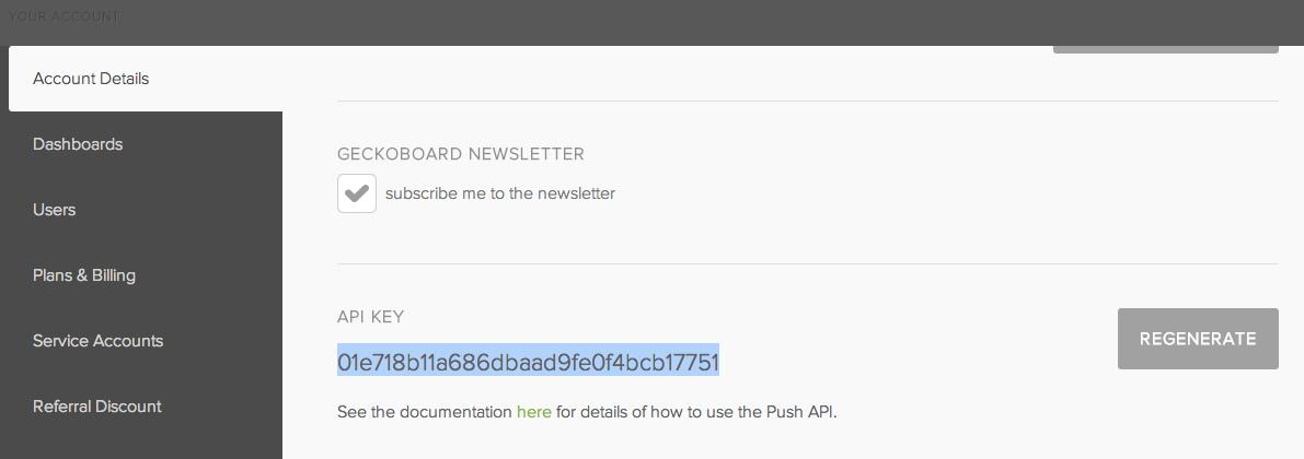 Retrieve your API from Geckoboard