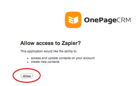 Click accept to authorize your OnePage CRM account