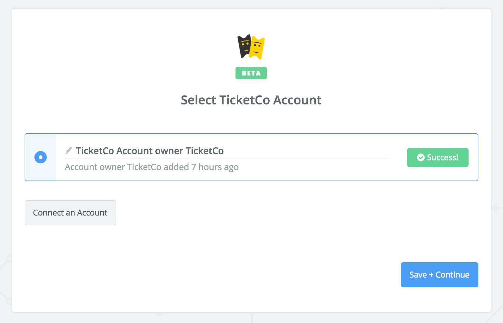 TicketCo connection successful
