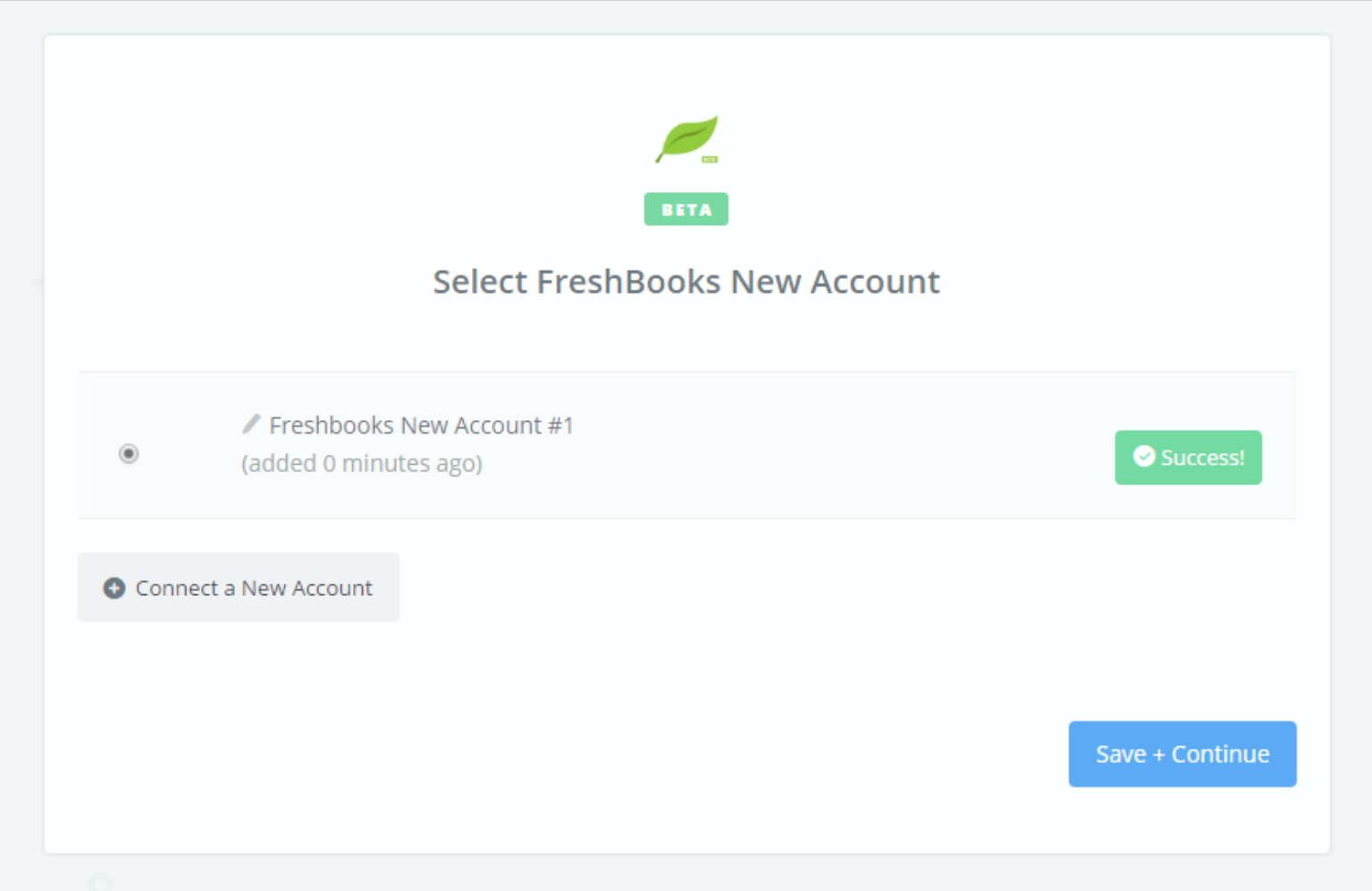 FreshBooks New connection successfull