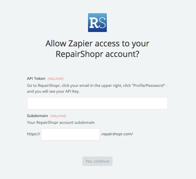 RepairShopr API Key