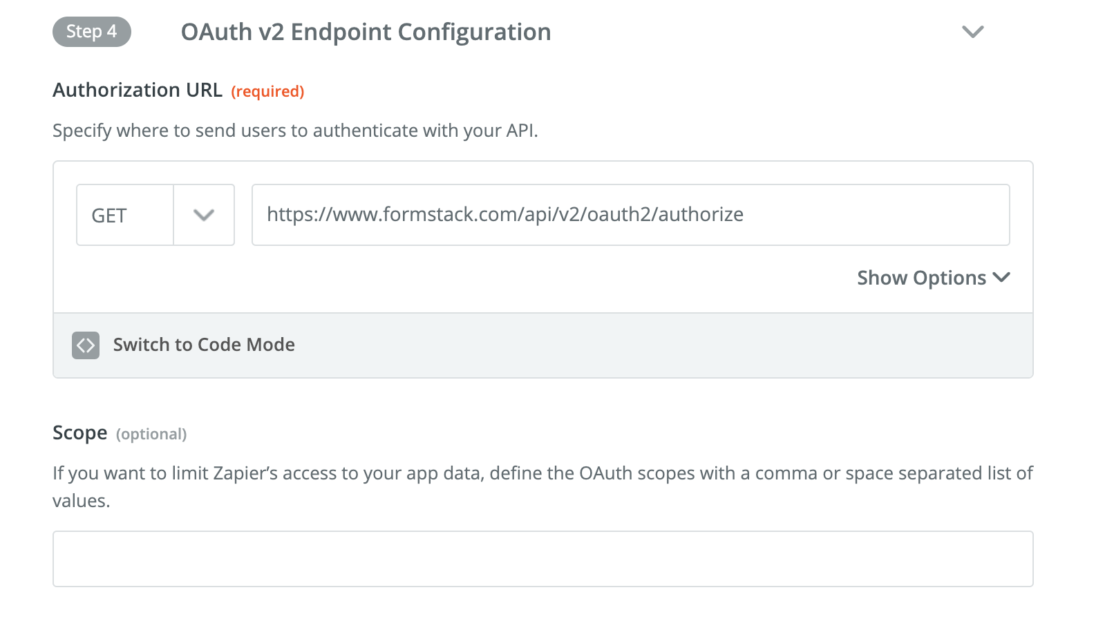 Add Authorization URL to Zapier