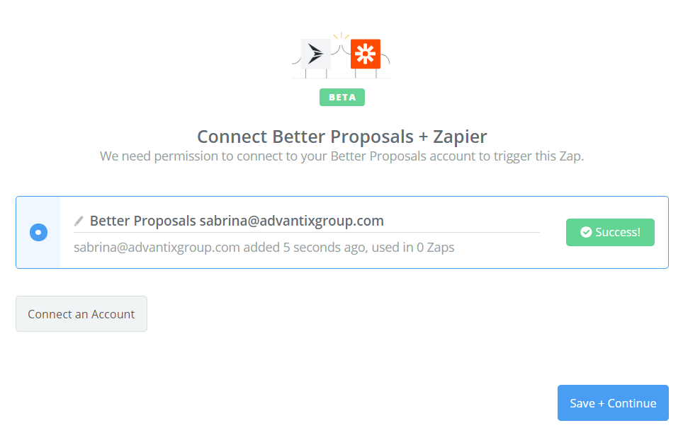 Better Proposals connection successful